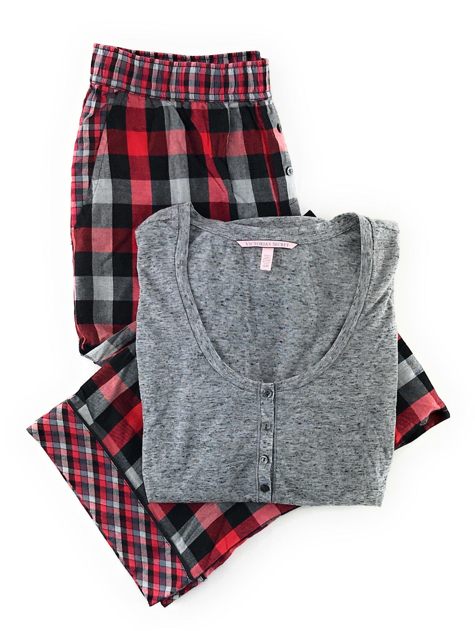 Victoria's Secret Dreamer Henley Pajama Set Light Gray/Red Black Gray Plaid Medium by Victoria's Secret (Image #1)