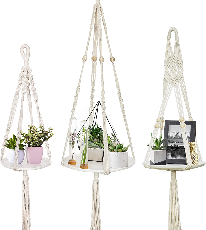 D Vine Dev Pack of 3 Macrame Plant Hanger Shelf, Handmade Cotton Rope Ceramic Shelf, Indoor Hanging Planter Decorative Flower Pot Holder Boho Bohemian Home D cor