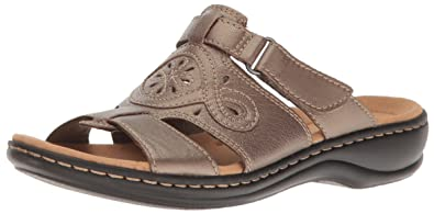 8c5a82fca3083 CLARKS Women s Leisa Higley Slide Sandal Pewter Metallic Leather 6 ...