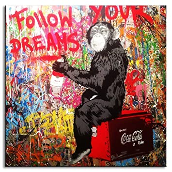 DVQ Art Banksy Follow Your Dreams Painting On Canvas Graffiti Monkey Writing Colorful Animal