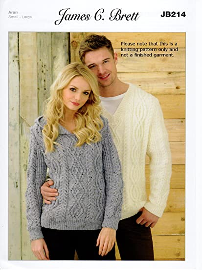 0ad10f767 James Brett Knitting Pattern Instructions for Ladies Hooded Jumper Mens V  Neck Sweater in Rustic Aran JB214  Amazon.co.uk  Kitchen   Home