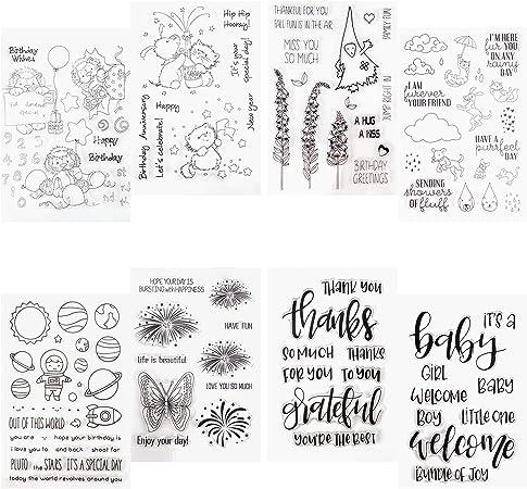 AIEX 8 Hojas de silicona transparente sellos sello con diferentes temas para la decoración de tarjetas y DIY Scrapbooking: Amazon.es: Hogar