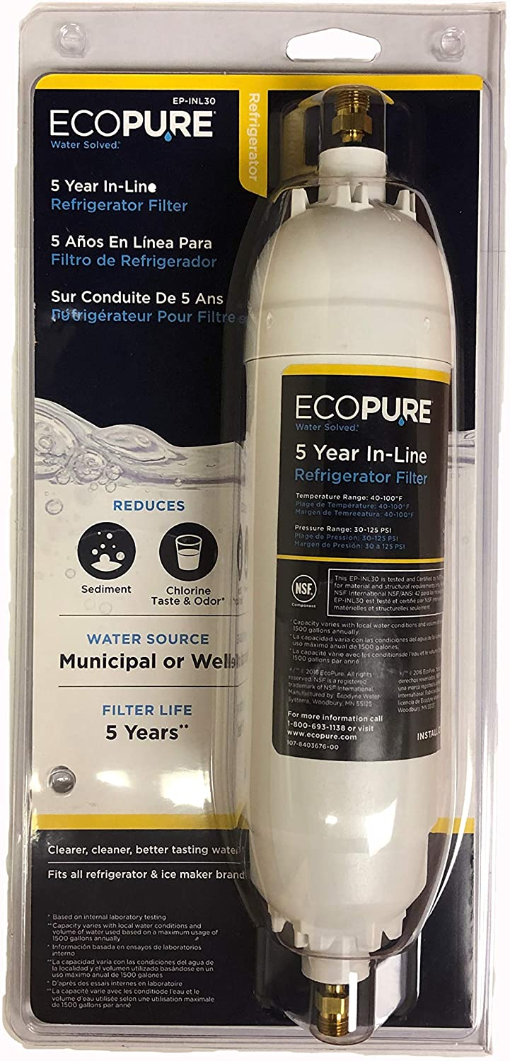 Ecopure In-Line Refrigerator Clean Water Filter Replacement 5 years Warranty
