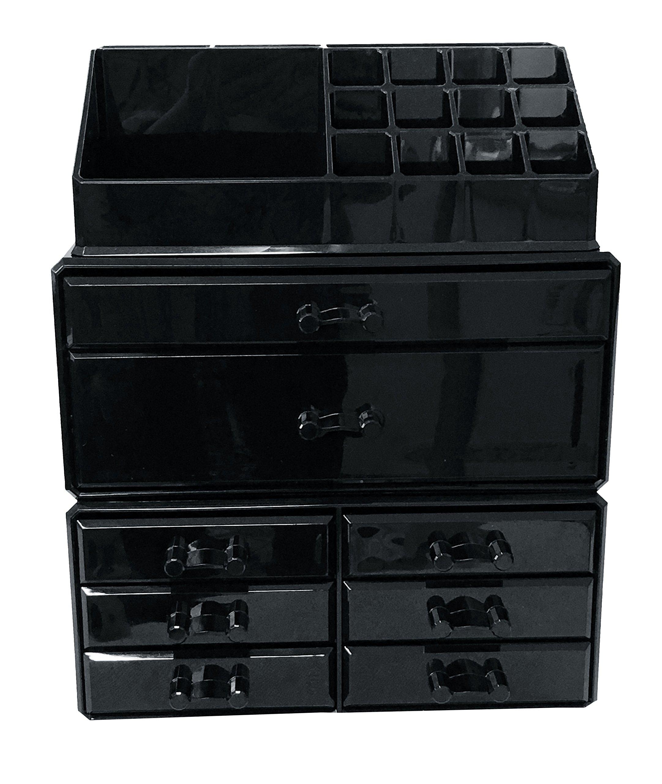 black acrylic makeup organizer drawers box make up cosmetic display storage case ebay. Black Bedroom Furniture Sets. Home Design Ideas