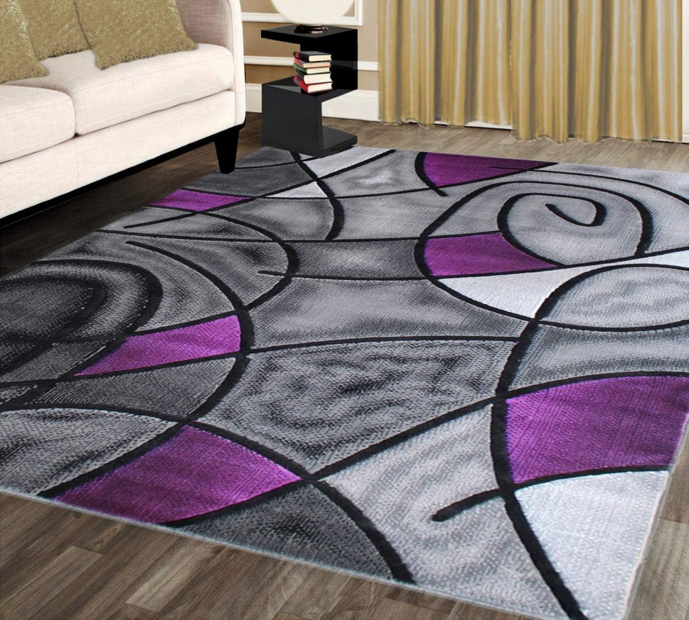 Masada Rugs, Modern Contemporary Area Rug, Purple Grey Black 5 Feet X 7 Feet