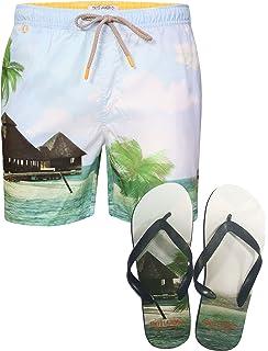 c7bec73eb3 Mens Casual Beach Surf Board Summer Swim Shorts Tokyo Laundry With Flip  Flops