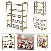 3/4/5 Tier Bamboo Shoe Rack Organizer Wooden Storage Bench Shelves Stand Shelf
