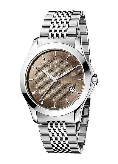 Gucci YA126406 - Reloj de cuarzo para hombre, con correa de acero inoxidable, color plateado: Amazon.es: Relojes