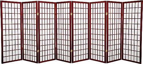 Oriental Furniture 4 ft. Tall Window Pane Shoji Screen – Rosewood – 8 Panels