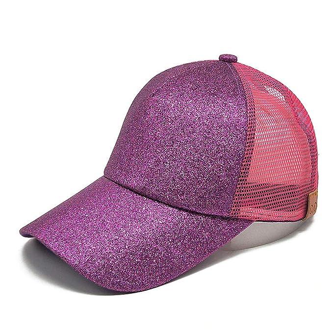 7eedede47 2019 Glitter Hats Ponytail Messy Bun Baseball Hat Women Men Baseball ...