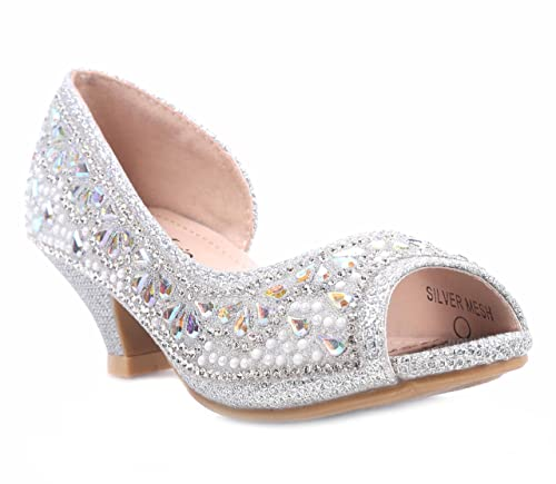 "c679f4c0bfd Fashion Rhinestones Kids Blink Blink Peep Toe Slip on Girls 1.5"" Kitten  Heels Sandals Youth"