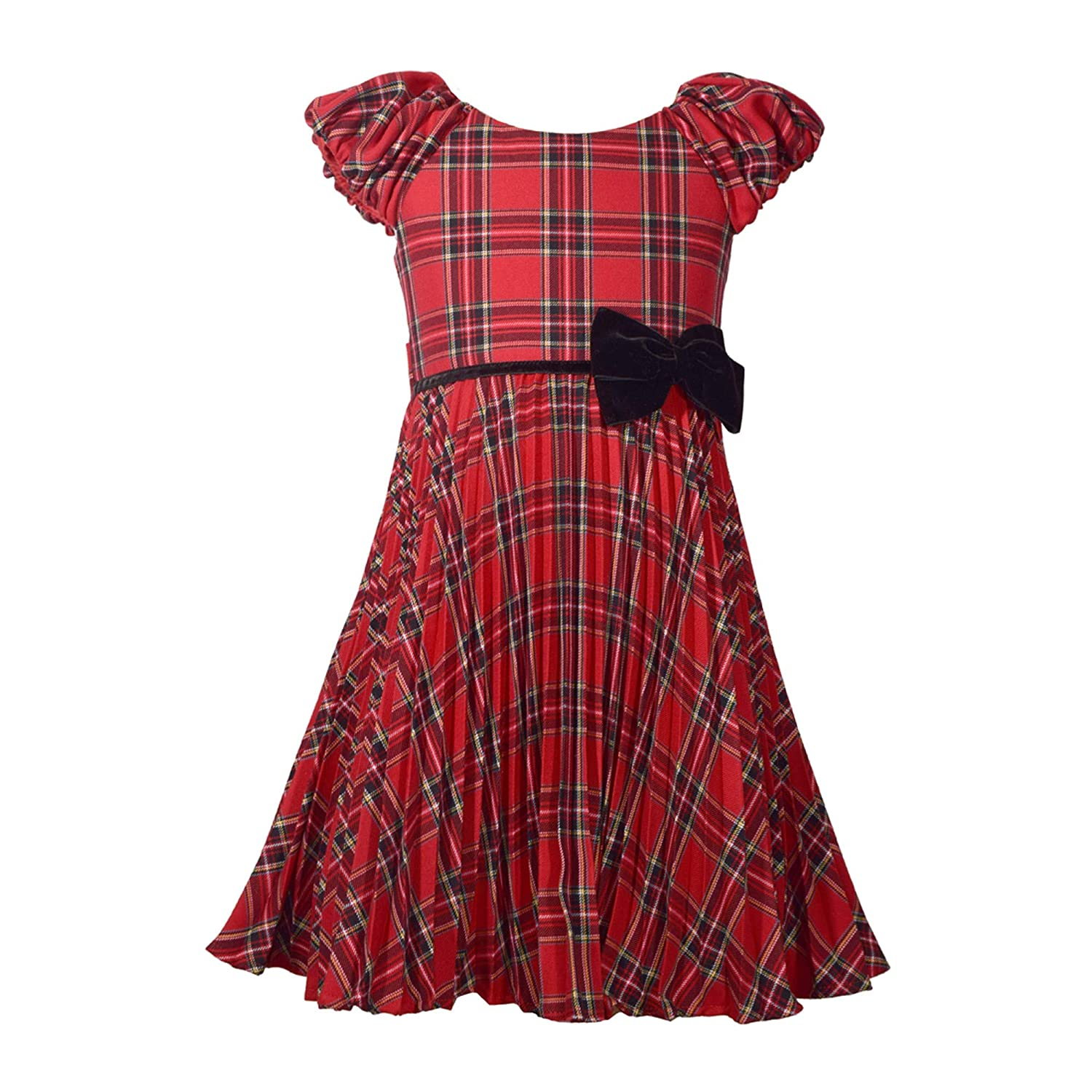 Kids 1950s Clothing & Costumes: Girls, Boys, Toddlers Bonnie Jean Red Plaid Christmas Dress with Pleated Skirt and Velvet Bow $49.95 AT vintagedancer.com