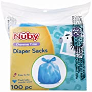 Nuby 100 Piece Disposable Diaper Sacks/Bags with Powder Scent, Blue