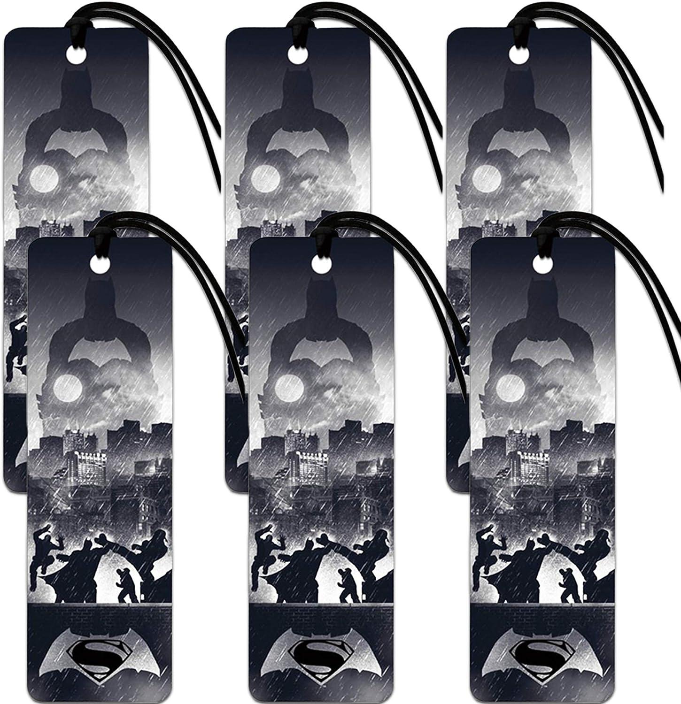 Batman Vs Superman Bookmark Set - Bundle Includes 6 Batman and Superman Bookmarks for Gifts, Party Supplies and Office Supplies (Party Favors, License Merchandise)