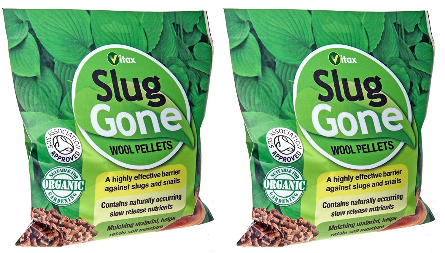 2 x Vitax Organic Highly Effective Slug Gone Slug & Snail Wool Pellets 3.5L