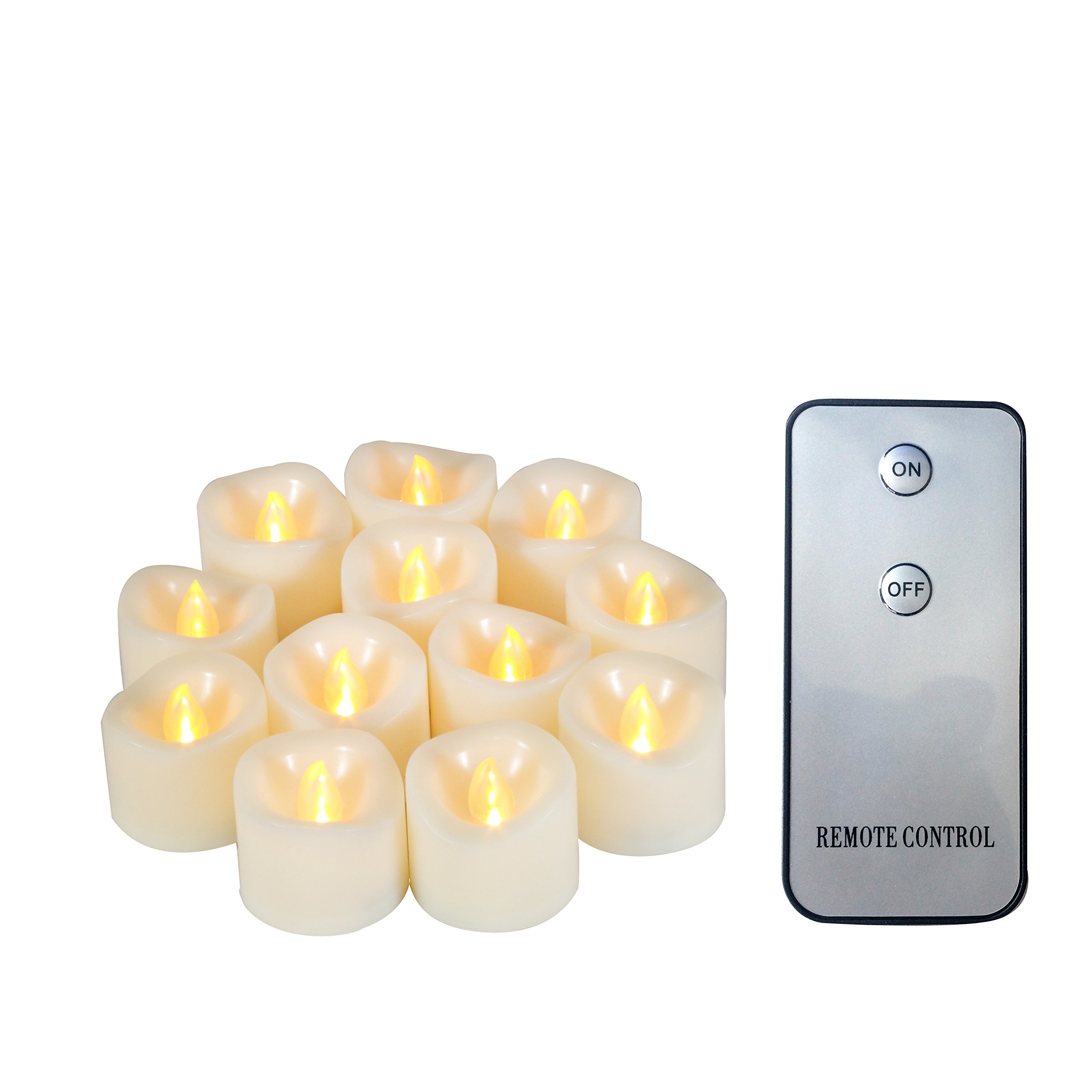 """Candle Choice 12-Pack Realistic Flameless Votive Candles Bright Battery Operated LED Tea Lights with Remote 1.5""""x1.5"""" Long Lasting Tealights Party Wedding Birthday Holiday Home Décor Centerpiece Gift"""