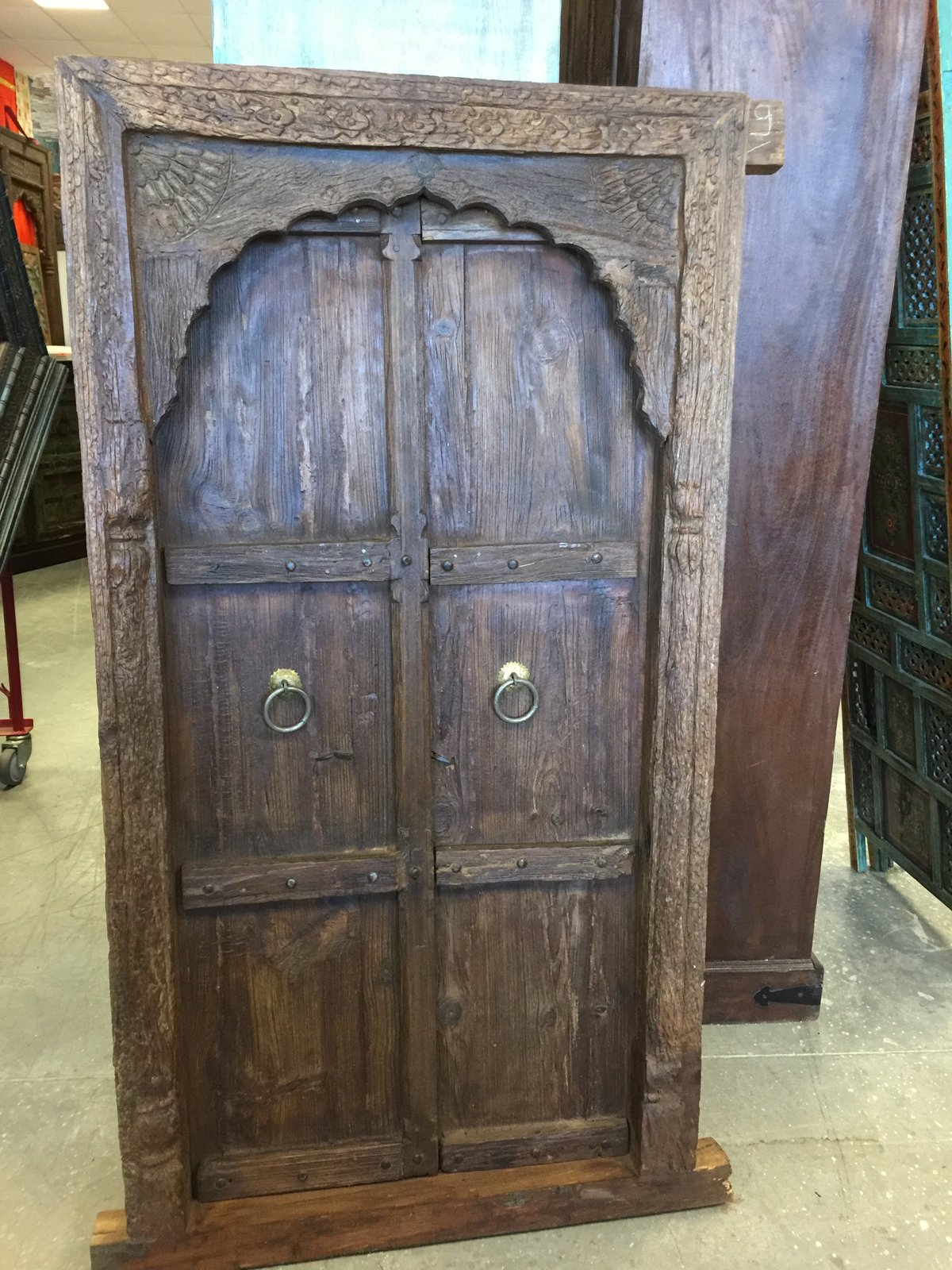Mogulinterior Antique Vintage Teak Window Terrace Door Arched MEhrab Carved Jharokha & Floral Carved Solid Frame Rustic Luxe by Mogul Interior