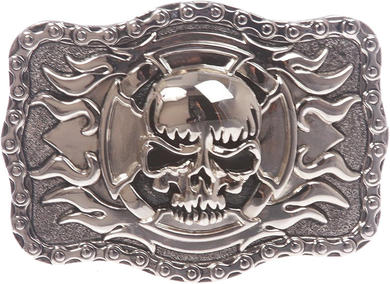 MONIQUE Men Modern Rectangular Skull Flame Cross 1.5 Wide Belt 4x3 Buckle