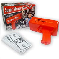 Geekmonkey Super Money Gun Cash Cannon for Wedding, Parties and Fun – Includes 100 Fake Dollars