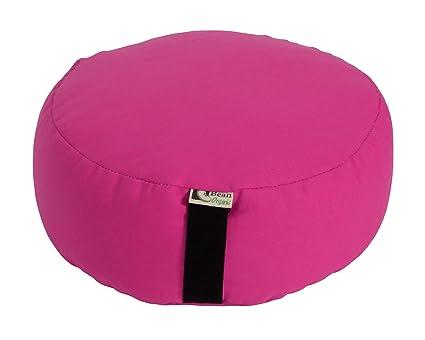 Bean Products Hibiscus - Round Zafu Meditation Cushion - Yoga - Organic 10oz Cotton - Organic Buckwheat Fill - Made in USA