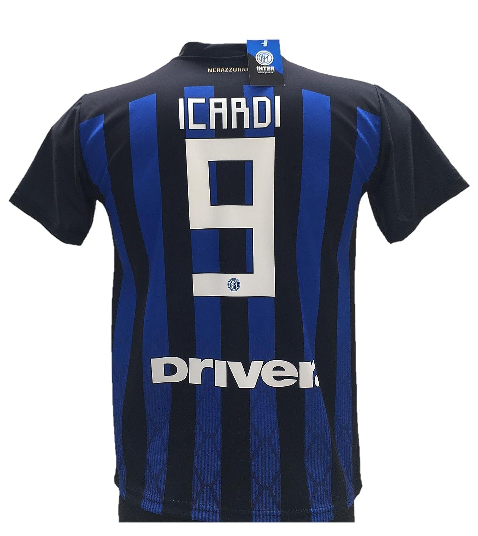 F.C.Internazionale Maglia Calcio Icardi 9 Inter Replica Autorizzata 2018-2019 Taglie da Bambino e Adulto