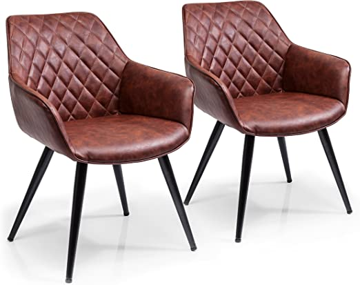 Kare Design Harry Armchair Set Of 2 Padded Comfortable Dining Chairs In Retro Design Brown 84 X 60 X 63 Cm H X W X D Amazon De Kuche Haushalt