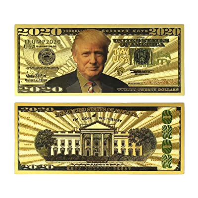 2020 Dollar Bill Donald Trump Banknote, Gold Coated Donald Trump Limited Edition Million Dollar Bill Great Gift for Currency Collectors and Republican (Gold, 10): Toys & Games