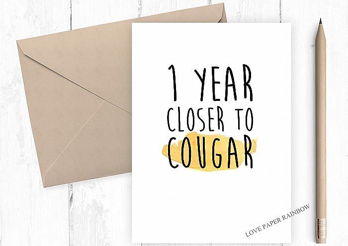 Cougar Birthday Card 39th 30 Something Funny