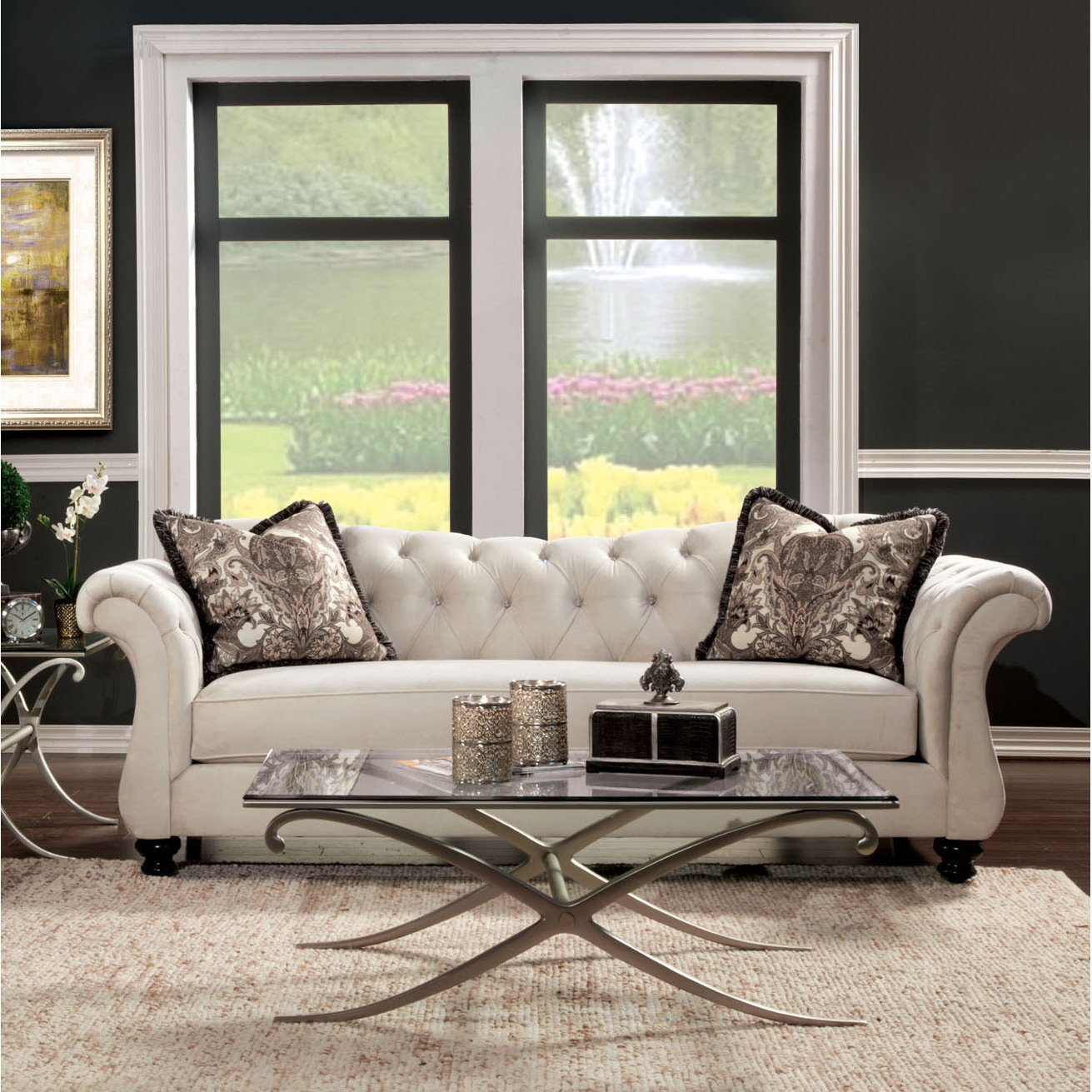 Amazon.com: Metro Shop Furniture Of America Agatha Traditional Tufted Sofa Silver:  Kitchen U0026 Dining