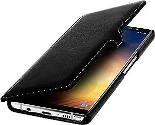 StilGut Book Type Case, Custodia per Samsung Note 8 a Libro Booklet Custodia Orizzontale, Cover Apertura Laterale in Vera Pelle, Nero Nappa con Clip