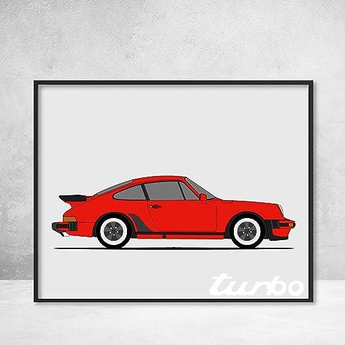 Porsche 930 (Porsche 911 Turbo) Side Profile View Poster Print Wall Art Decor Handmade