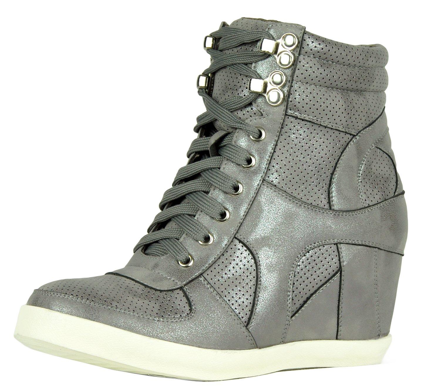 Refresh Footwear Women's High Top Hidden Wedge Fashion Sneaker B075QPW971 8.5 B(M) US Grey
