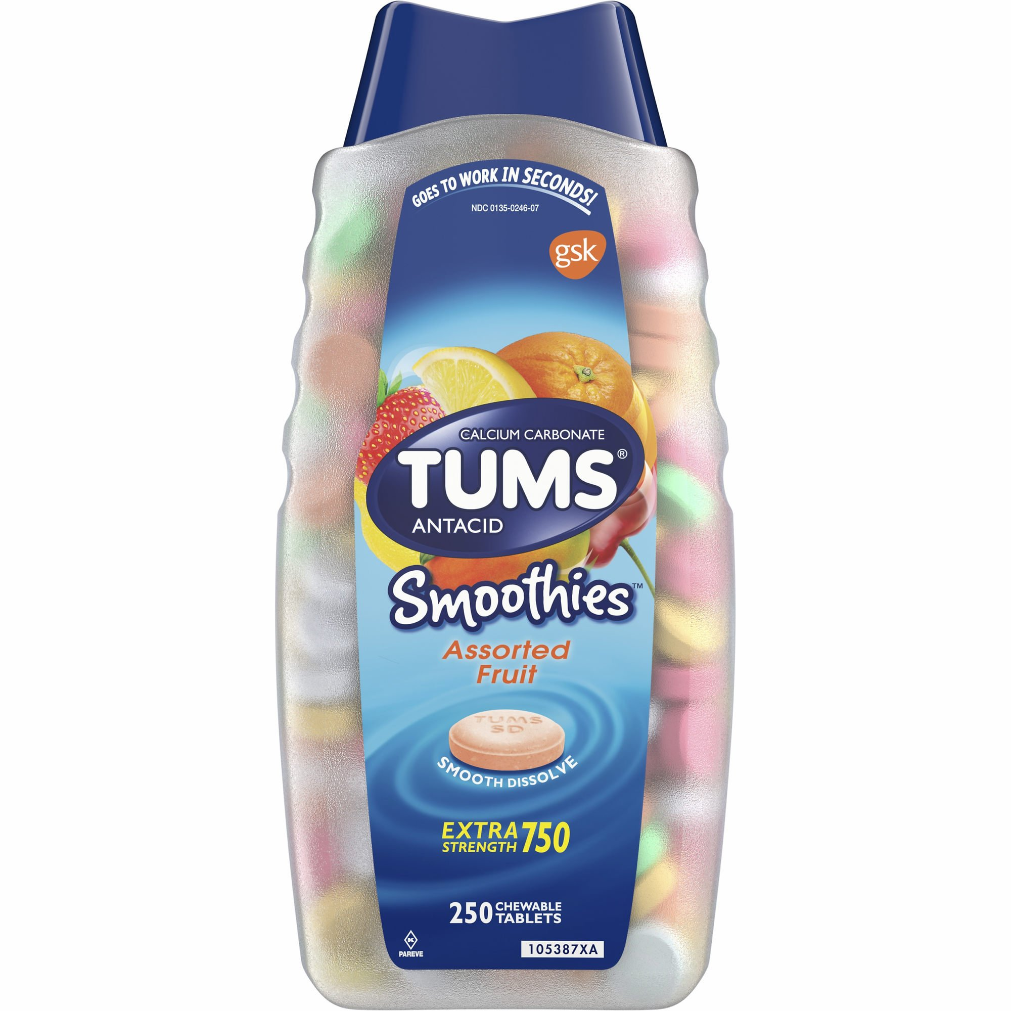 Tums Smoothies Assorted Fruit Flavor Chewable Tablets, 250 ct. (pack of 6)