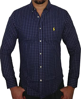 new product 89993 bf6c4 Ralph Lauren POLO Herren Slim Fit Hemd Blau/Dunkelblau Kariert | Gelber  Reiter
