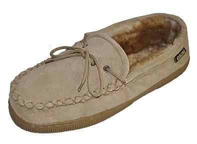 Eurow Sheepskin Mens Hardsole Moccasin - Chestnut/Stony, Size 9 Beige