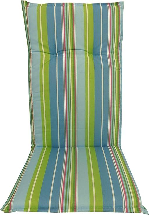 Almohada Cojines para sillas de jardín respaldo alto rayas de la luz azul-verde y turquesa: Amazon.es: Jardín
