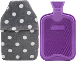 HomeTop Premium Classic Rubber Hot or Cold Water Bottle with Soft Fleece Cover (2 Liters, Purple/Gray Polka Dot Envelope Cover)