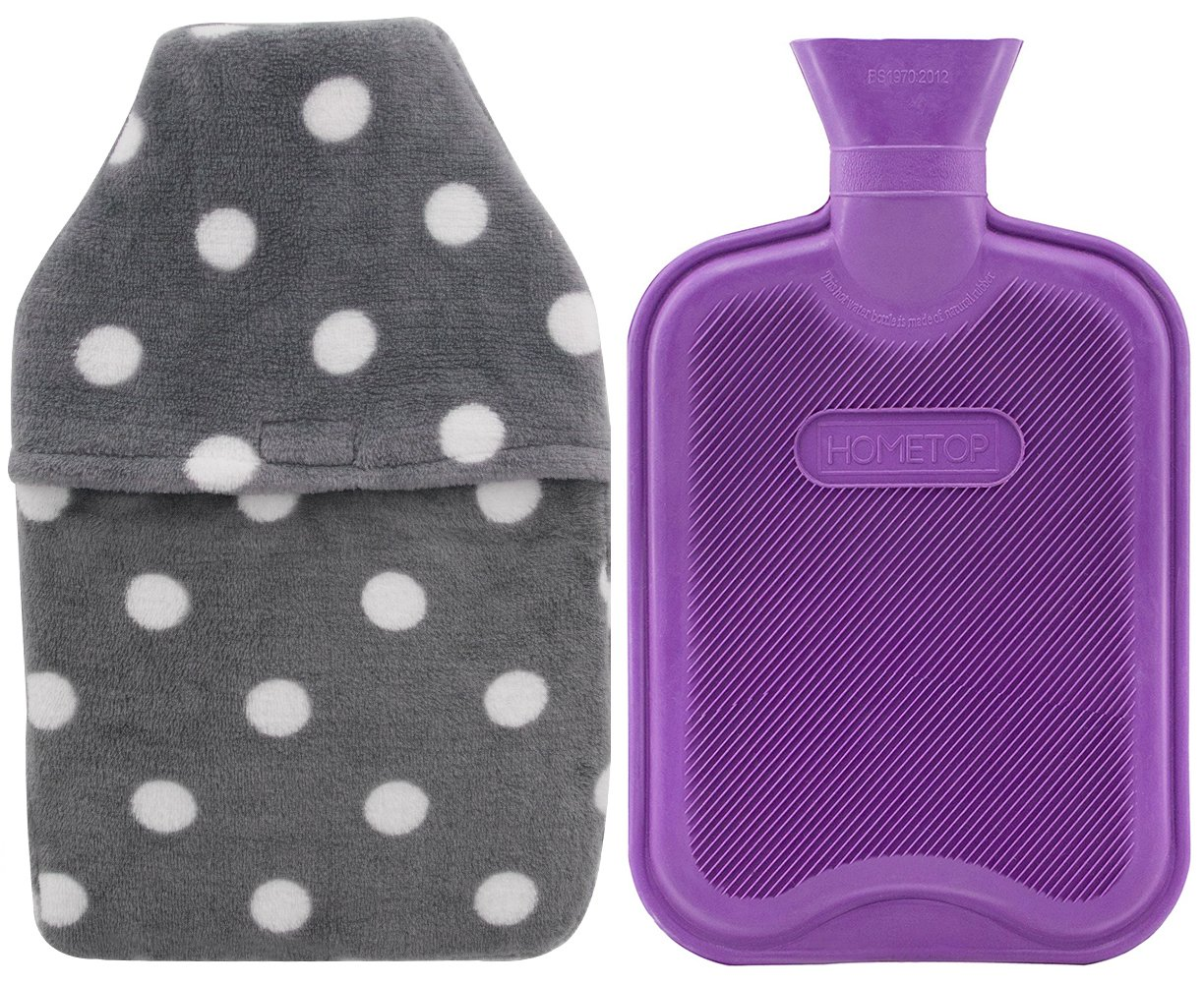 HomeTop Premium Classic Rubber Hot or Cold Water Bottle with Soft Fleece Cover (2 Liters, Purple/Gray Polka Dot Envelope Cover) by HomeTop
