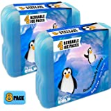 Ice Pack Freezer For Lunch Box Containers Coolers | Reusable For Kids Adults Cold Storage Packs 8 Count