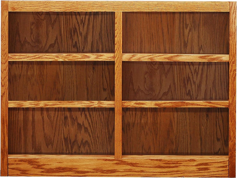 Concepts in Wood MI4836 6 Shelf Double Wide Wood Bookcase, 36 inch Tal Oak