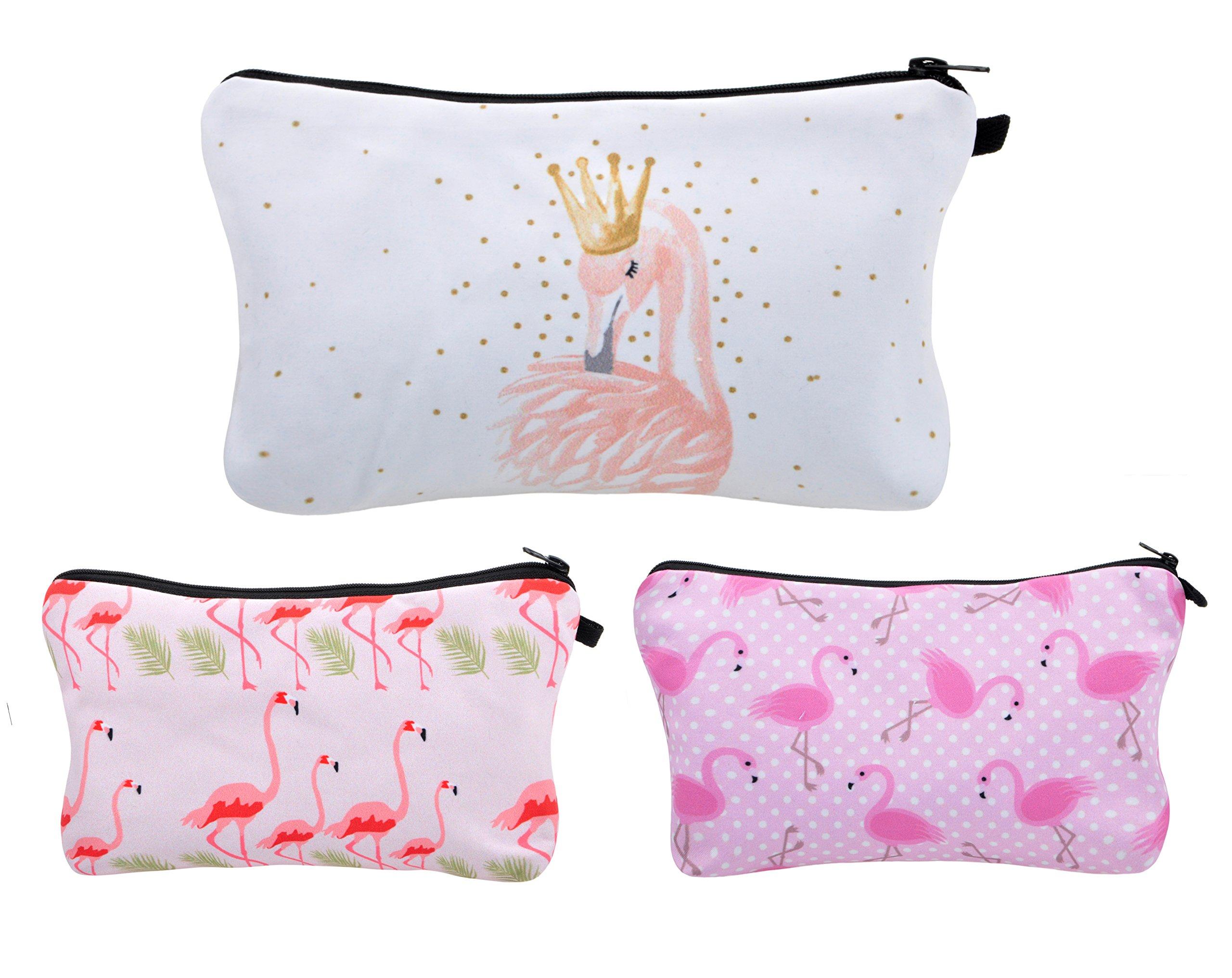 Vercord 3pcs Unicorn Makeup Bag Funny 3D Printing Women Travel Portable Cosmetic Bag Pouch Makeup Holder Organizer, Flamingo