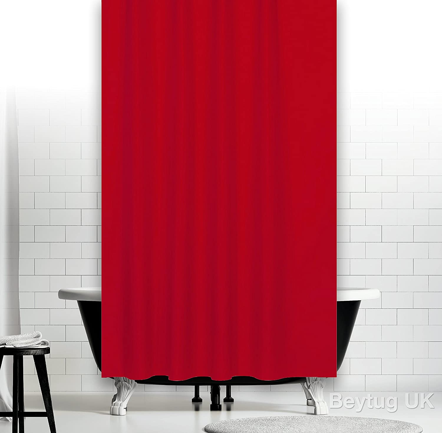 Red Fabric Shower Curtain Extra Wide 240CM And Long 200CM With Weighted Hem Amazoncouk Kitchen Home