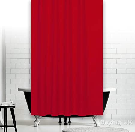 Red Fabric Shower Curtain Extra Wide 240CM And Long 200CM With  Weighted Hem