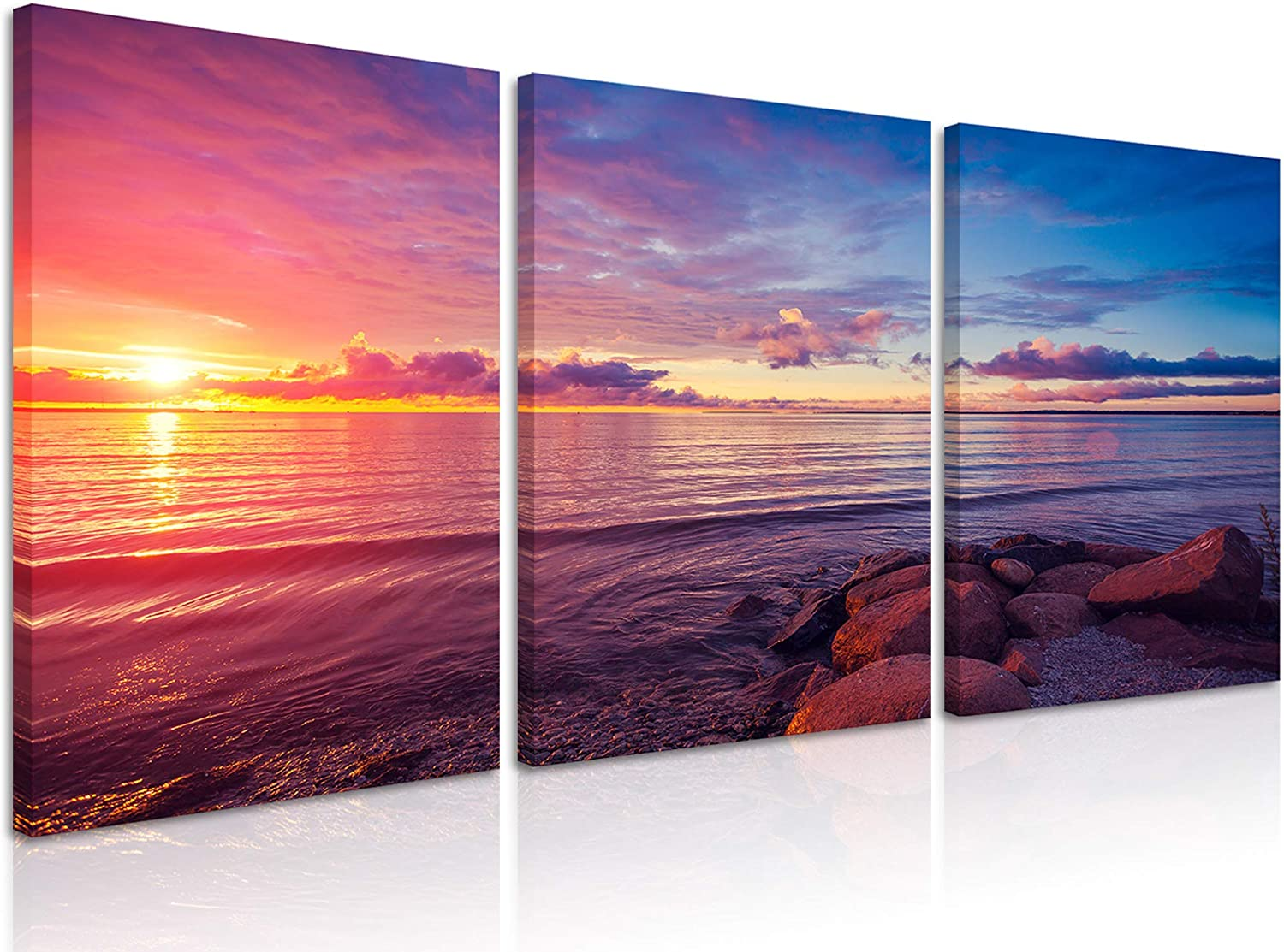 Natural art Modern Stretched and Framed Red Sky Pictures Paintings Contemporary Large Canvas Art Prints Wall Art for Home Decor Ready to Hang, 3 Panels