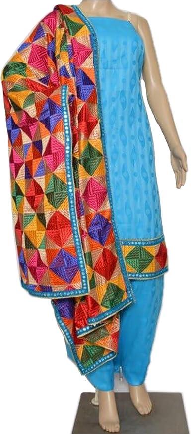 Punjabi phulkari dupatta suits silk flaired long kameez gown indian wear dresses