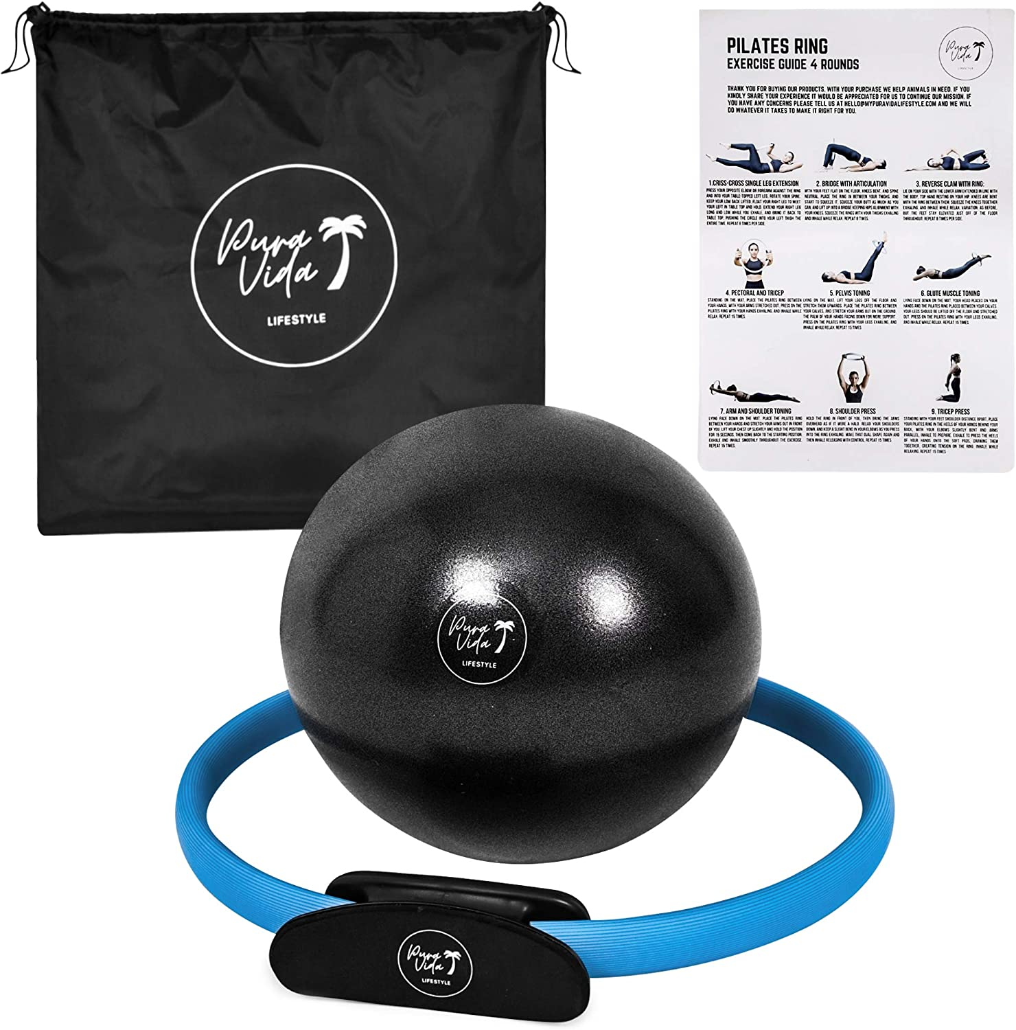 PuraVida Lifestyle Pilates Set Includes Best Pilates Ring 14 Inches and Mini Exercise Ball 9 Inches with Travel Bag for Fitness, Pilates, Yoga, Core Training, Tone Thighs, Legs, ABS, Stability (Blue) : Sports & Outdoors