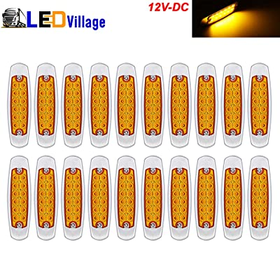 20 Pcs LedVillage 12V DC 6.4 Inch Amber LED Side Marker Clearance Lamp Great Replacement Heavy Truck Lighting 12 Diodes Peterbilt Freightliner Trailer Truck ATV SUV Coach Surface Mount Waterproof BB12: Automotive
