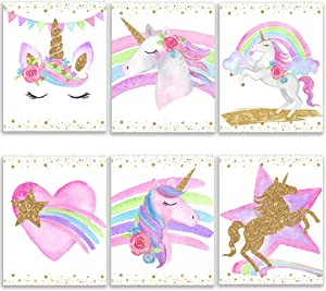 Unicorn Bedroom Decor For Girls Unicorn Wall Decor Made In USA 6 (8x10 in) Prints Unicorn Poster Rainbow Decor Unicorn Room Decor Posters For Teen Girls Room Kids Room Decor for Girls Girls Room Decor