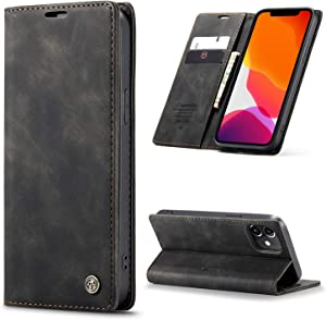 Kowauri for iPhone 12 Case/iPhone 12 Pro Case,Leather Wallet Case Classic Design with Card Slot and Magnetic Closure Flip Fold Case for iPhone 12/iPhone 12 Pro 6.1 Inch 2020 (Black)