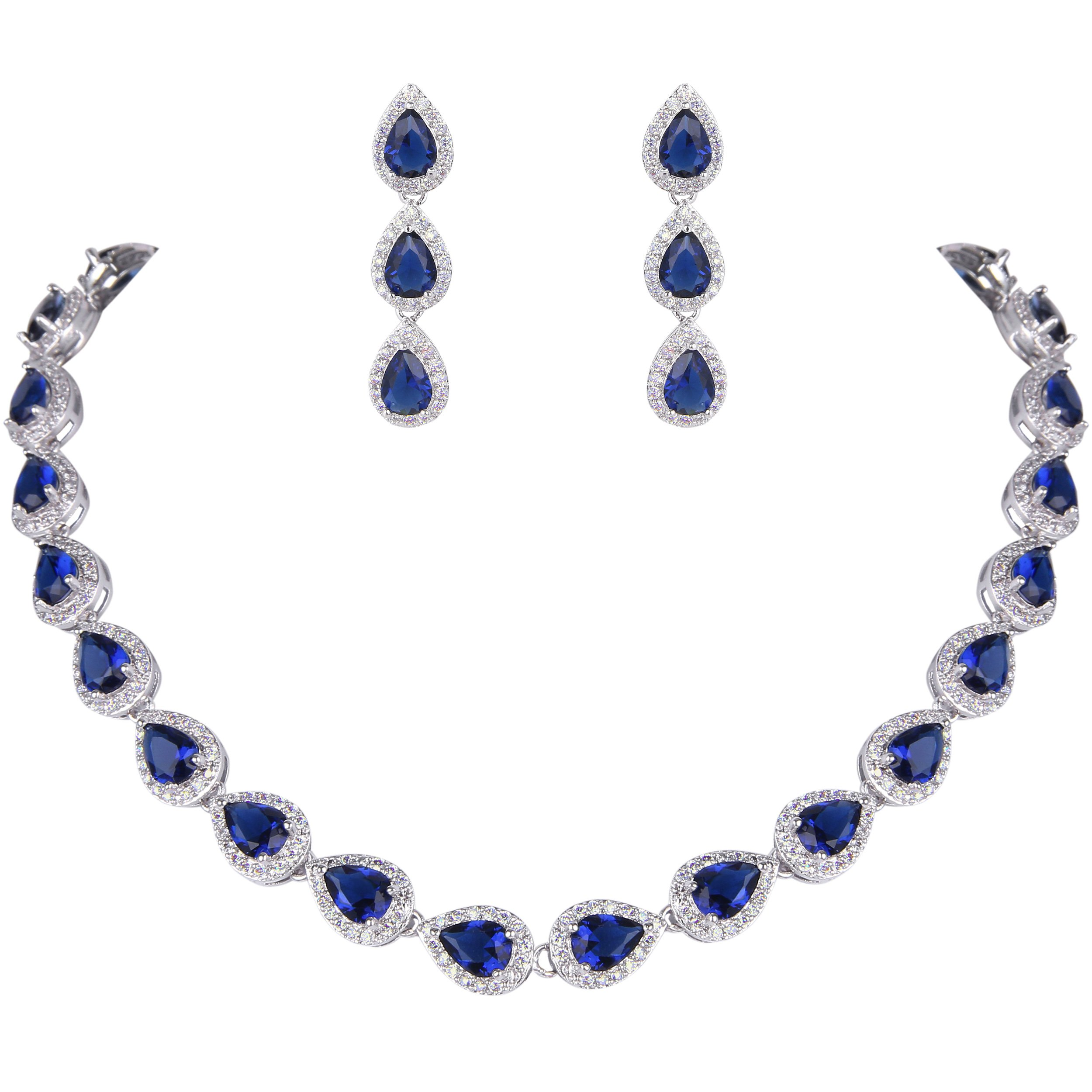 EVER FAITH Women's Full CZ Elegant Teardrop Necklace Earrings Set Blue Sapphire Color Silver-Tone